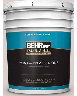 BEHR Premium Plus 5 gal. #N130-1 Pearls and Lace Satin Enamel Exterior Paint and Primer in One