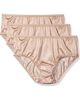 Shadowline Women's Plus Size Panties-Nylon Hipster (3 Pack), Nude, 8