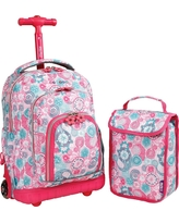 J World 16 Lollipop Rolling Backpack with Lunch Kit - Pink/Blue, Pink/Blue/Yellow