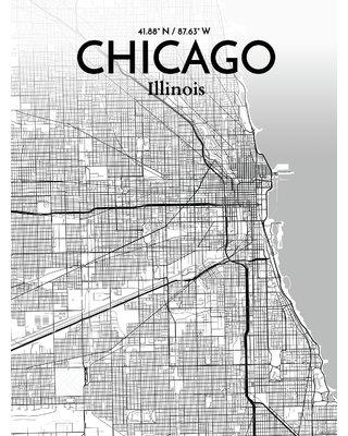 """OurPoster.com 'Chicago City Map' Graphic Art Print Poster in Tones OP-ORD Size: 17"""" H x 11"""" W"""