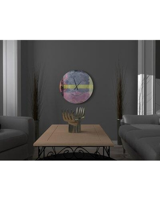 East Urban Home Authoritative Present Oversized Abstract Art Pink Green Grey Metal Wall Clock W000307569 Size: Small