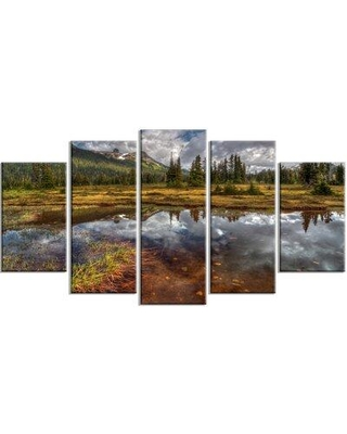 Design Art 'Shallow Lake under Cloudy Sky' 5 Piece Photographic Print on Wrapped Canvas Set PT14452-373