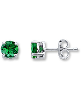 Lab-Created Emerald Stud Earrings 14K White Gold