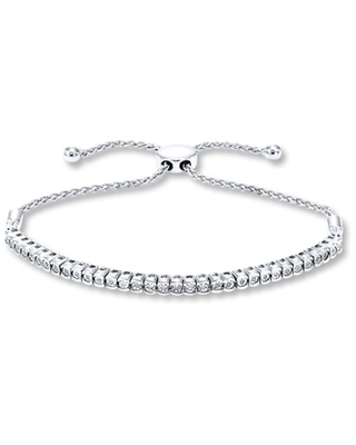 Jared The Galleria Of Jewelry Diamond Bolo Bracelet 1/15 ct tw Round-cut Sterling Silver