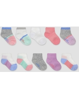 Fruit of the Loom Baby Toddler Girls' Beyondsoft Grow and Fit Ankle Socks - Pink/Gray/Blue 4T-5T