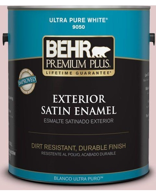 BEHR Premium Plus 1 gal. #160E-2 Pink Water Satin Enamel Exterior Paint and Primer in One