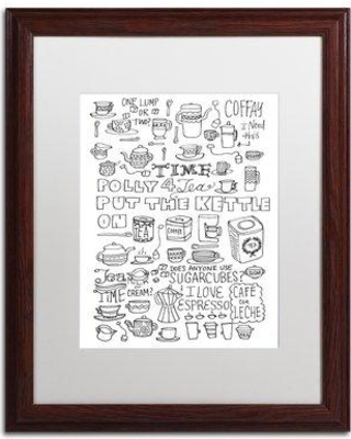 """Trademark Art 'Put the Kettle on' Framed Graphic Art Print ALI5513-W1 Matte Color: White Size: 20"""" H x 16"""" W x 0.5"""" D"""