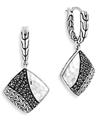 John Hardy Sterling Silver Classic Black Sapphire & Black Spinel Chain Hammered Square Drop Earrings