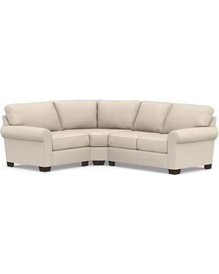 Buchanan Roll Arm Upholstered Right Arm 3-Piece Wedge Sectional, Polyester Wrapped Cushions, Performance Chateau Basketweave Oatmeal