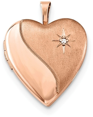 """Curata 925 Sterling Silver Rose Gold-Plated Satin Diamond-accent Heart Locket Pendant Necklace (2 pictures) (20mm)(16"""" chain)"""