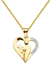 14k Yellow Gold Cubic Zirconia Mother and Child Heart-shaped Pendant with Square Wheat Chain (20 Inch)