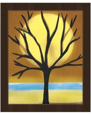 """Click Wall Art 'Tree and the Sun' Framed Graphic Art TRE0000250FR Size: 26.5"""" H x 22.5"""" W x 1"""" D Frame Color: Espresso"""