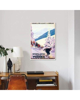 "East Urban Home 'Skiing III' Graphic Art Print on Canvas EBHS7668 Size: 18"" H x 12"" W x 1.5"" D"