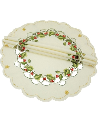 Xia Home Fashions 0.1 in. x 16 in. Round Winter Berry Collection Christmas Doilies/Placemats (4-Set), Ivory