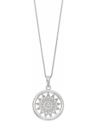 """""""Timeless Sterling Silver Cubic Zirconia Sun Pendant Necklace, Women's, Size: 18"""", White"""""""