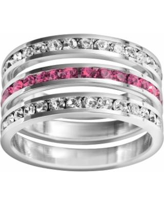 Traditions Sterling Silver Crystal Eternity Ring Set, Women's, Size: 10, multicolor