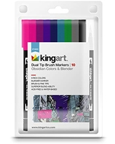 KINGART 447 Colors and Blender, Set of 10 Dual Tip Brush Markers, Assorted Obsidian 10 Piece