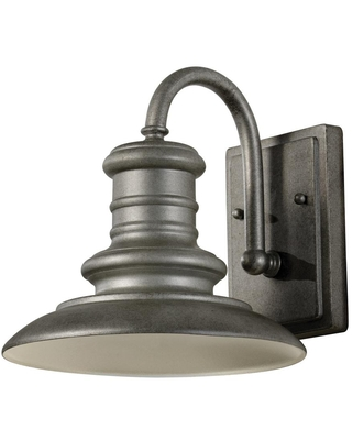 Feiss Redding Station 1-Light Tarnished Silver Outdoor 9.6875 in. Integrated LED Wall Lantern Sconce