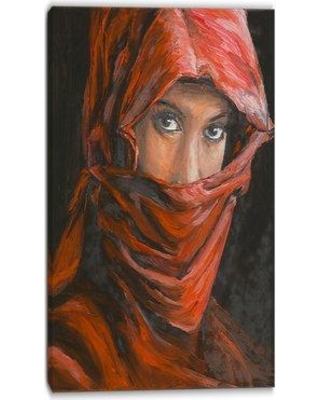 """World Menagerie 'Hijab Portrait' Painting Print on Wrapped Canvas W000462656 Size: 32"""" H x 16"""" W"""
