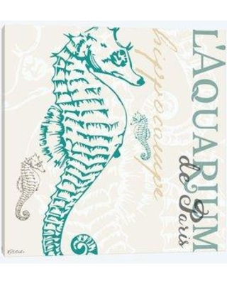 """East Urban Home 'Vintage Collage: Seahorse' By Jennifer Redstreake Graphic Art Print on Wrapped Canvas ETRC6108 Size: 26"""" H x 26"""" W x 0.75"""" D"""