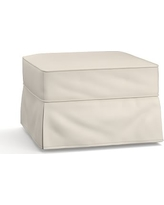 Buchanan Slipcovered Ottoman, Polyester Wrapped Cushions, Twill Cream