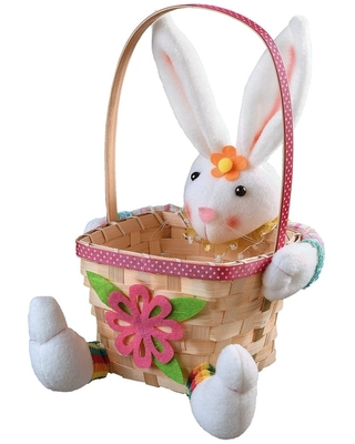"""9.5"""" Pink and White Easter Bunny with Basket Tabletop Decor"""