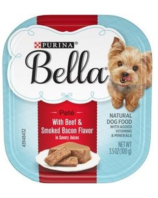 Purina Bella with Beef & Smoked Bacon in Savory Juices Small Breed Wet Dog Food Trays, 3.5-oz, case of 12