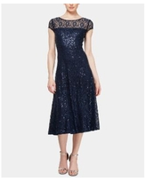Sl Fashions Sequined Lace Midi Dress - Navy
