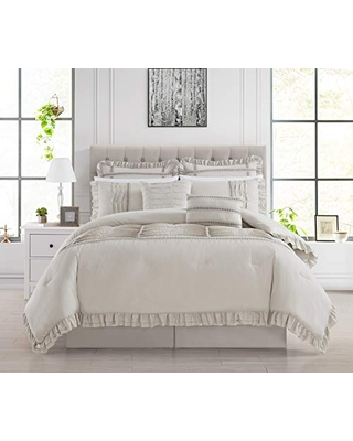 Chic Home Yvette 8 Piece Comforter Set Ruffled Pleated Flange Border Design Bedding - Bed Skirt Decorative Pillows Shams Included, Queen, Beige