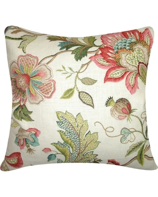 """Floral Throw Pillow Green (20""""x20"""") - The Pillow Collection, Multicolored"""