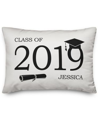 """Designs Direct """"Class of 2019"""" Oblong Throw Pillow in White"""
