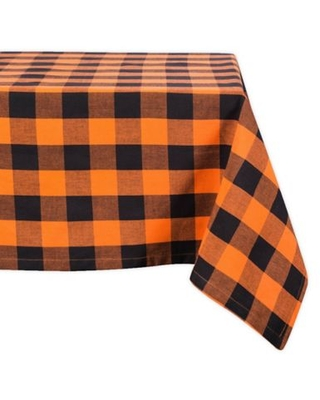 Design Imports Buffalo Check 60-Inch x 120-Inch Oblong Tablecloth in Orange/Black