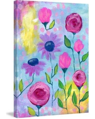 """Marmont Hill 'Flowers Pink Purple' by Jill Lambert Painting Print on Wrapped Canvas MH-SHNJIL-23-C- Size: 60"""" H x 40"""" W x 1.5"""" D"""