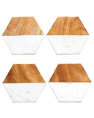 Creative Co-Op Marble and Natural Mango Wood Coasters (Set of 4), Hexagon, Multicolored