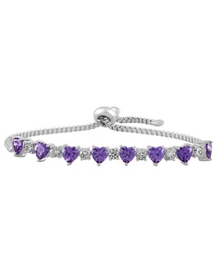Believe by Brilliance Sterling Silver Plated Simulated Amethyst with CZ Accents Adjustable Heart Bolo Bracelet