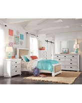 Willow Complete Distressed White Upholstered Bed (Twin)