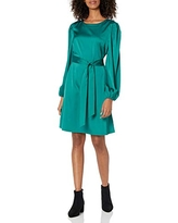The Drop Women's @shopdandy Belted Silky Stretch Dress, Pacific Teal, S