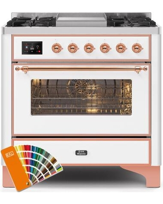 """UM09FDNS3RALP 36"""" Majestic II Series Dual Fuel Natural Gas Range with 6 Burners and Griddle 3.5 cu. ft. Oven Capacity TFT Oven Control Display"""