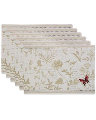 Design Imports Botanical Butterfly Embroidered Placemat Set/6 CAMZ11730