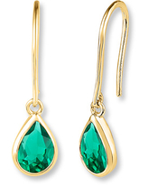Lab-Created Emerald 10K Yellow Gold Drop Earrings