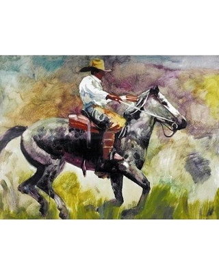 Millwood Pines 'Cowboy II' Oil Painting Print on Wrapped Canvas BF027840