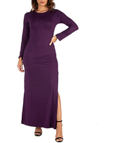 24/7 Comfort Apparel Womens Side Slit Fitted Maxi Dress, Small , Purple