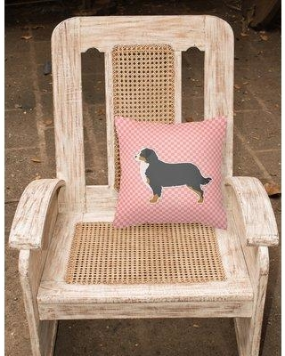 "East Urban Home Bernese Mountain Indoor/Outdoor Throw Pillow EAAS4767 Size: 14"" H x 14"" W x 3"" D Color: Pink"