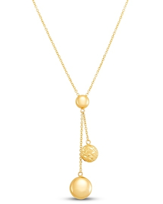 Jared The Galleria Of Jewelry Italia D'Oro Beaded Drop Necklace 14K Yellow Gold