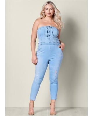 """Plus Size Lace UP Denim Jumpsuit Jumpsuits & Rompers - Blue"""