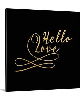 """Great Big Canvas 'Hello Love Gold On Black' by Tara Moss Textual Art 2385741_1 Size: 8"""" H x 8"""" W x 1.5"""" D Format: Canvas"""
