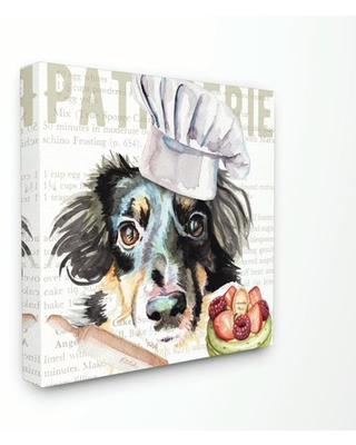 Stupell Industries Sheltie Dog Kitchen Bakery Pet Watercolor Painting Canvas Wall Art by Jennifer Redstreake