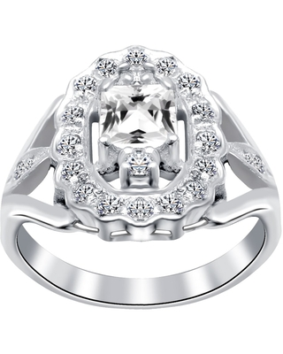 Cubic Zirconia Sterling Silver Square Cocktail Ring by Orchid Jewelry (6 - Zircon)
