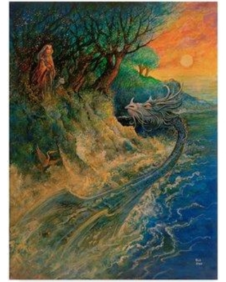 "Trademark Art 'Dragon of The Sea' Acrylic Painting Print on Wrapped Canvas ALI25742-CGG Size: 19"" H x 14"" W"