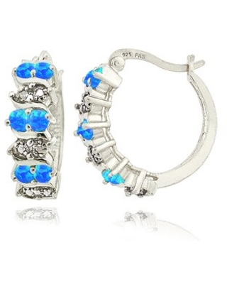 Glitzy Rocks Sterling Silver Created Opal and Diamond Accent Hoop Earrings (Blue)